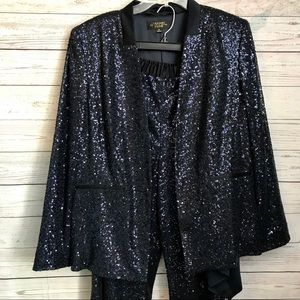 Blue Sequined Sparkly Pant Suit Evening Size 16